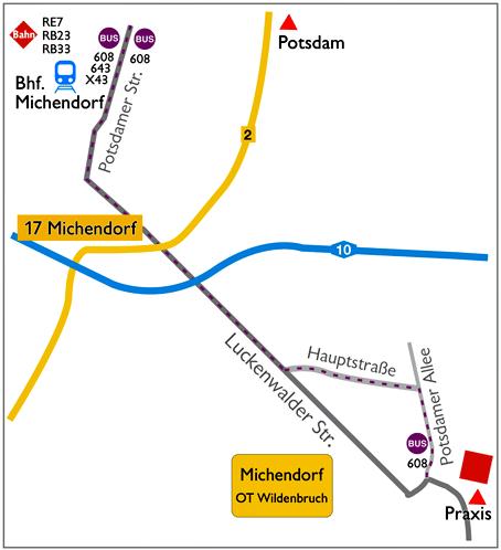 Anfahrt Warzen und Gürtelrose besprechen in Michendorf